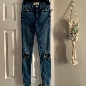 Free people skinny busted knee jean